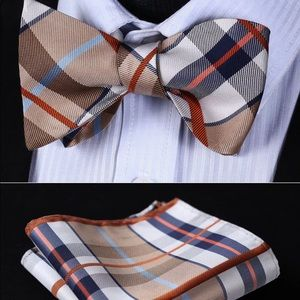 Men's Silk Coordinated Plaid Bow-Tie Set